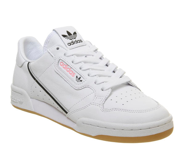 check out ccebe e5e93 Mens Adidas Continental 80 S White Grey Core Black Pink Gum Tfl Uk Size 10