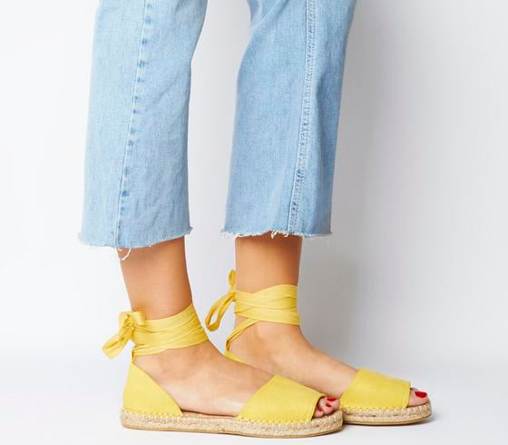 Womens Office Summer Bay Espadrille With Ties Yellow