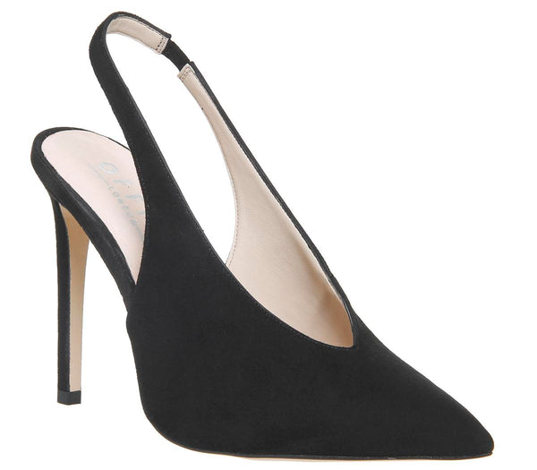 Womens Office Hix V Cut Slingback Point Court Black Suede