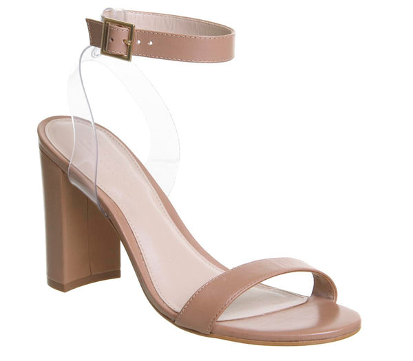 Womens Office Hexagon Single Sole Perspex Sandal Nude Leather
