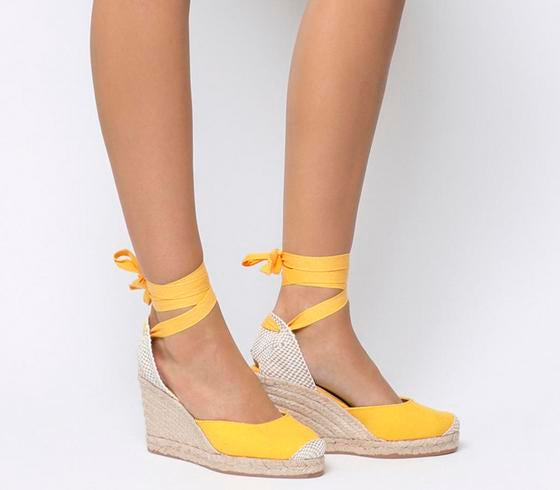 Womens Office Marmalade Part Espadrille Yellow Canvas
