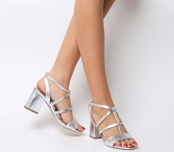 Womens Office Monarch Caged Block Heel Silver Uk Size 6