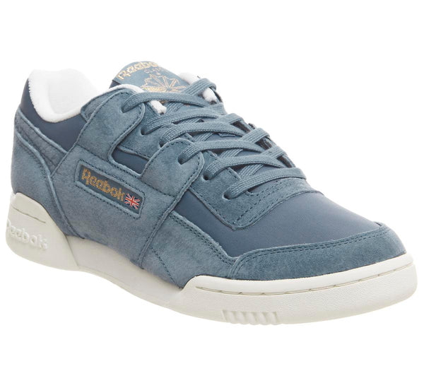 Womens Reebok Workout Lo Plus Blue Slate Chalk Brass