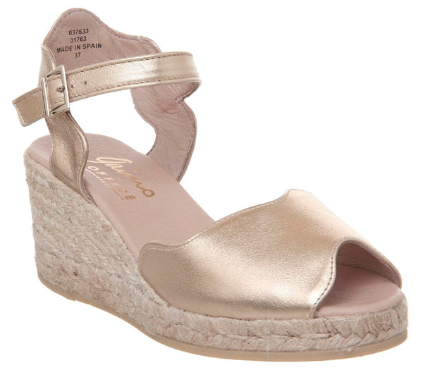 Womens Office Round Wedge Espadrille Gold
