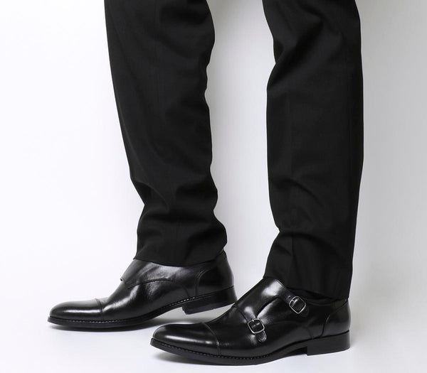 Mens Ask the Missus Happy Monk Shoes Black Leather
