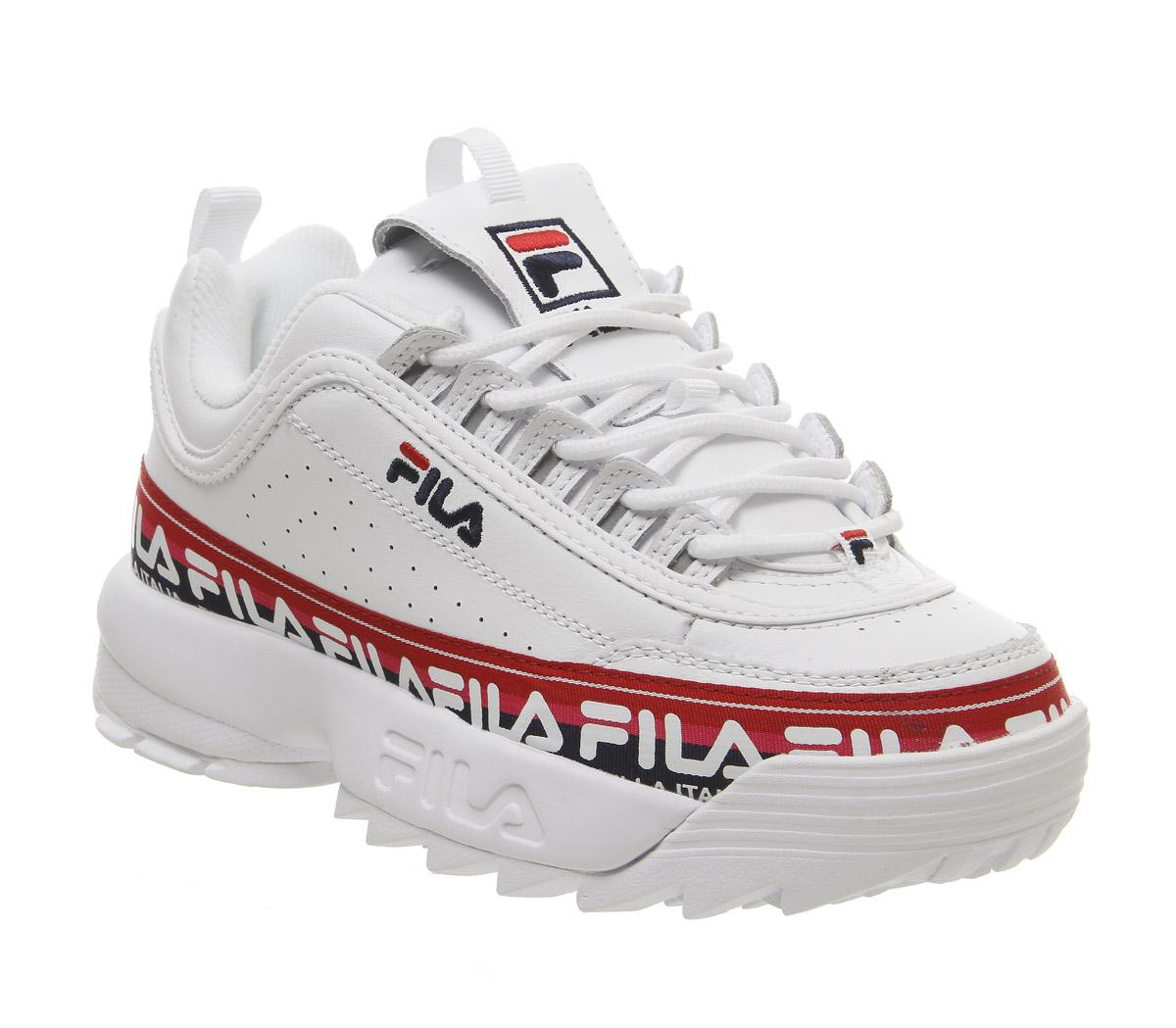 Womens Fila Disruptor II White Tape