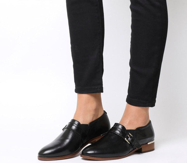 Womens Office Fray Double Gusset Shoes Black Groucho Leather