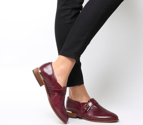 Womens Office Fray Double Gusset Shoe Burgundy Groucho Leather Uk Size 5