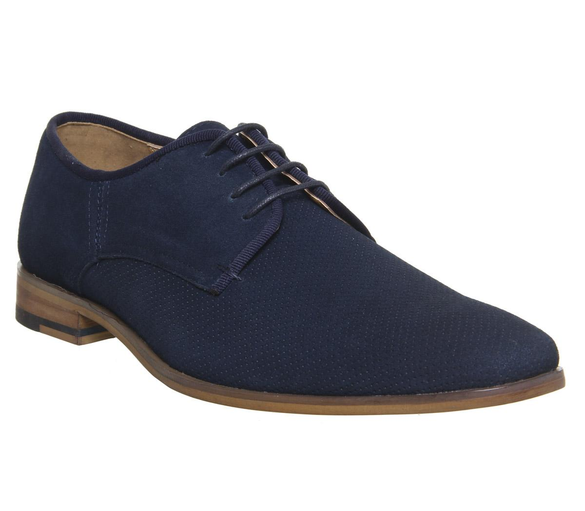Mens Office Idolise Perf Derby Navy Suede