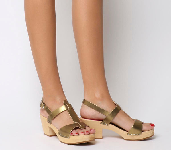 Womens Swedish Hasbeens Greek Mid Heel Sandal Gold