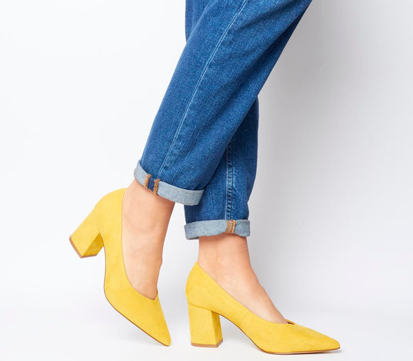 Womens Office Mama Point Court With Chunky Heel Yellow