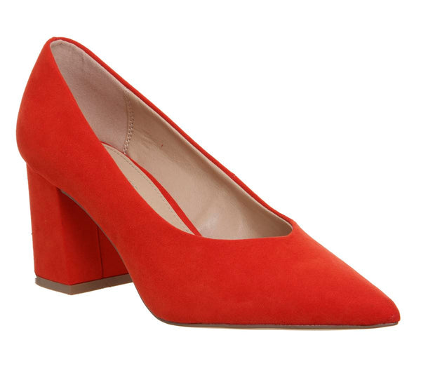 Womens Office Mama Point Court With Chunky Heel Red