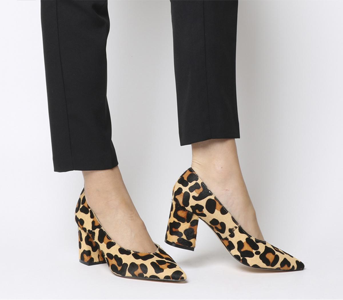 Womens Office Mama Point Court With Chunky Heel Leopard Pony