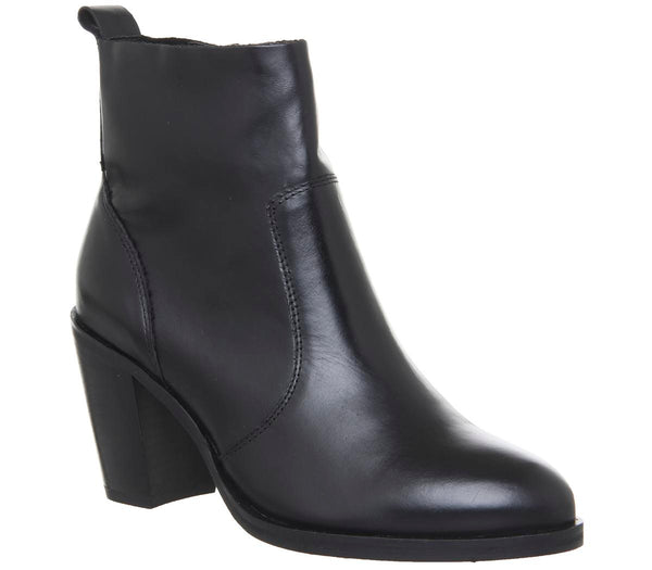 Womens Office Aberdeen Unlined Block Heel Boot Black Leather