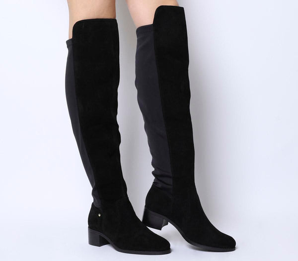 Womens Office Kite Stretch Back Over The Knee Boot Black Suede