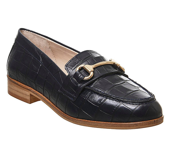Womens Office Fluster Loafer Navy Croc Leather