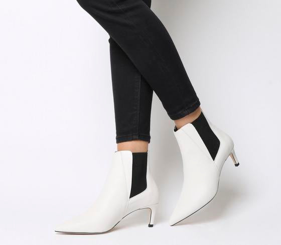 Womens Office Attire Kitten Heel Chelsea Boot White Leather