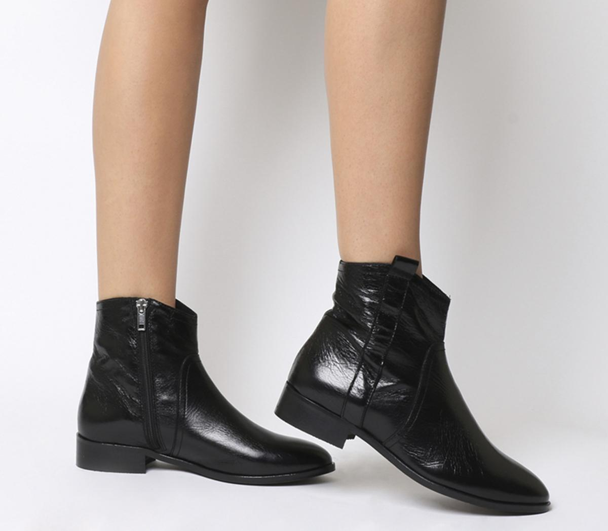 Womens Office Amuse Western Flat Boot Black Leather