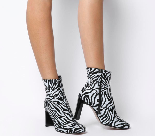Womens Office All Night Set Back Block Heel Boot Zebra Printed Suede