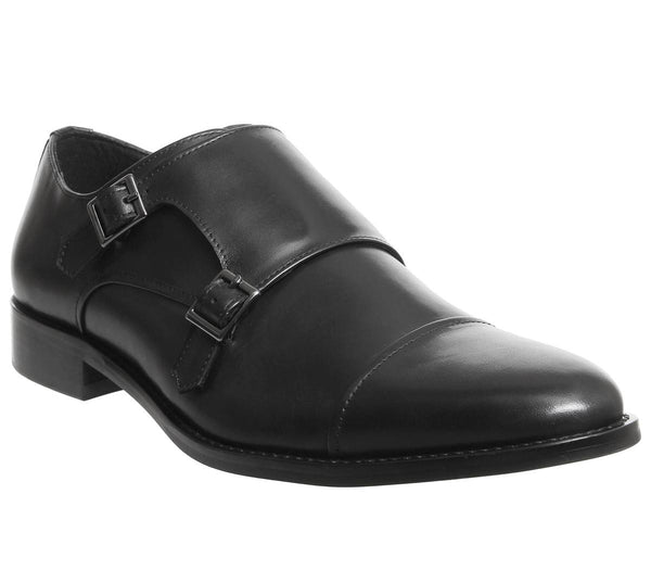 Mens Office Import Monk Black Leather