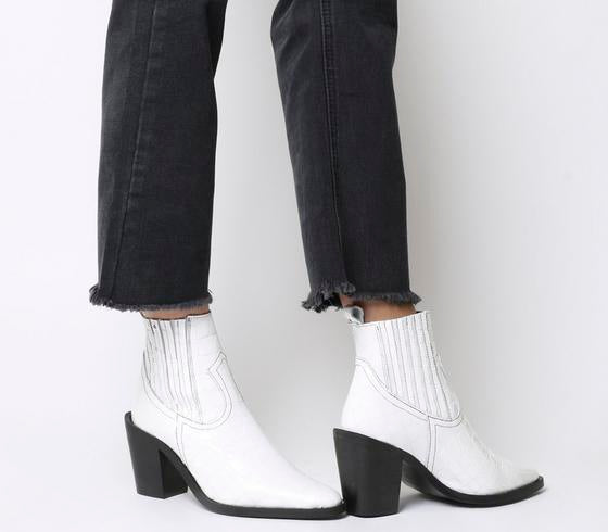 Womens Office Analyze Western Chelsea Boot White Croc Patent Leather