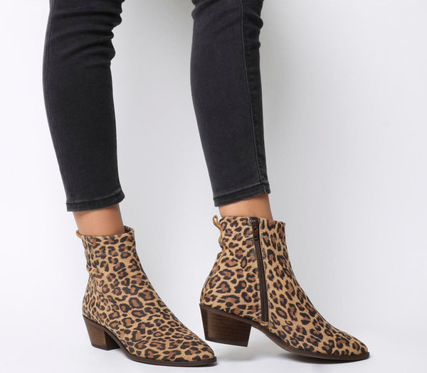 Womens Office Amarillo Stitch Detail High Cut Boot Leopard Suede