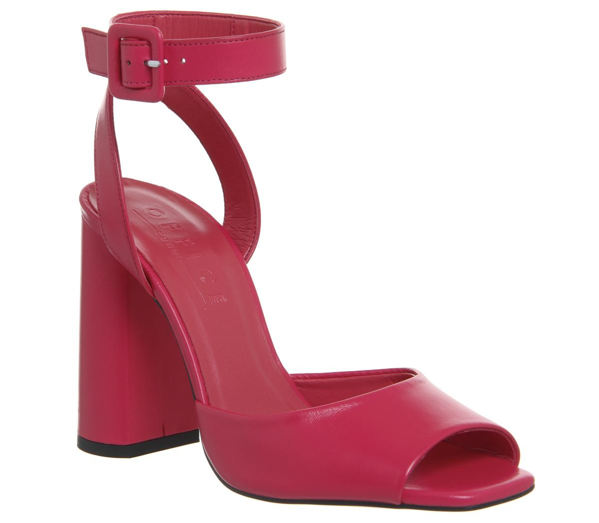 Womens Office Heartly Square Block Heel Ankle Strap Pink Leather