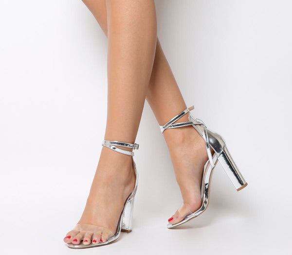 Womens Office Hayleer Ankle Strap Block Sandal Silver Mirror With Perspex Uk Size 7