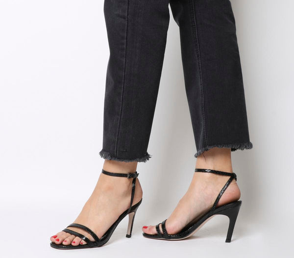 Womens Office Mojito Square Toe Heels Black Snake