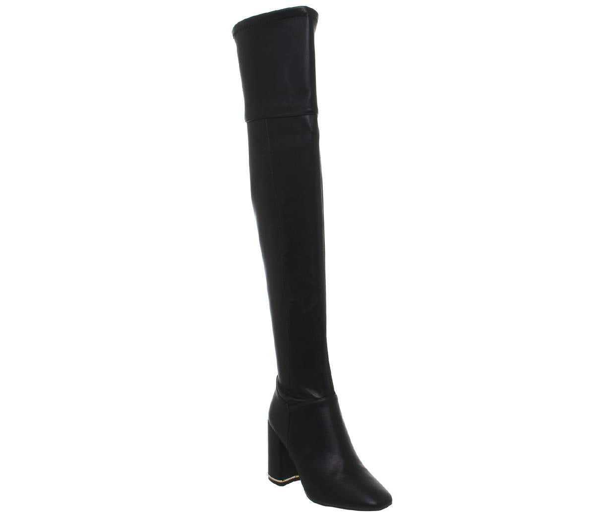 Womens Office Katch Block Heel Over The Knee Boot Black