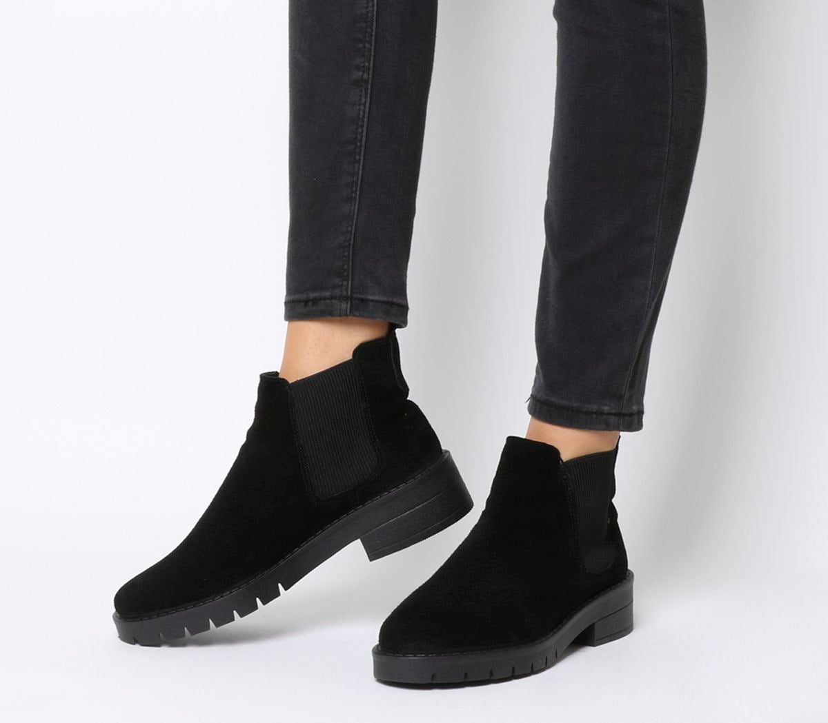 Office Aimee Cleated Chelsea Boots Black Suede