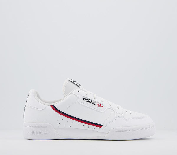 Odd sizes - Kids Adidas 80 S Continental Jnr White Scarlet Collegiate Navy Sizes R5/L5.5