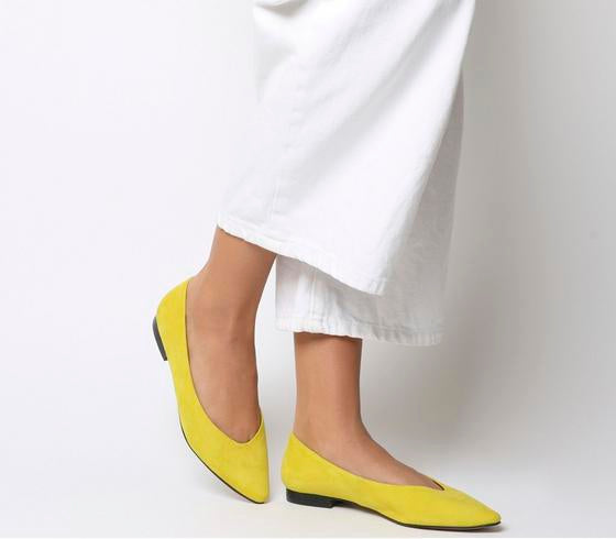Womens Office Fleur Pointed Flat Yellow Suede Uk Size 7