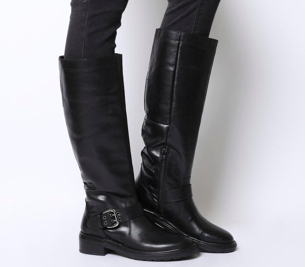 Womens Office Kelly Casual Buckle Knee Boot Black Leather