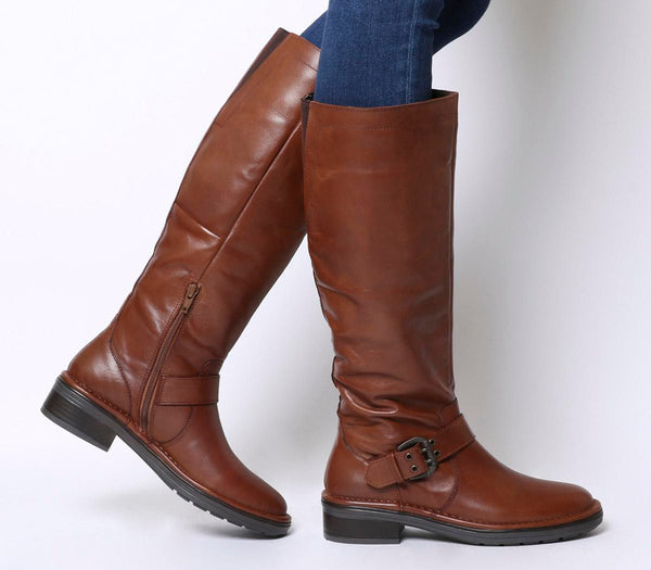 Womens Office Kelly Casual Buckle Knee Boot Brown Leather