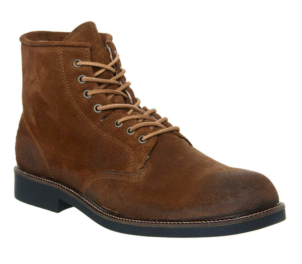 Mens Office Indulge Lace Boot Rust Suede