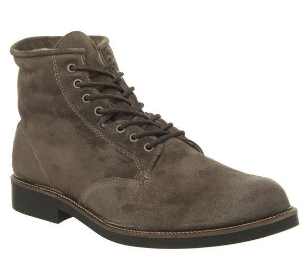 Mens Office Indulge Lace Boot Mushroom Suede