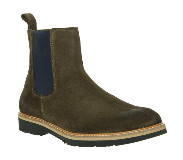 Mens Ask the Missus Igloo Chelsea Boots Khaki Suede
