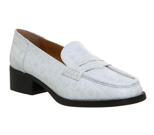 Womens Office Fashion Show Square Toe Loafer White Croc Leather