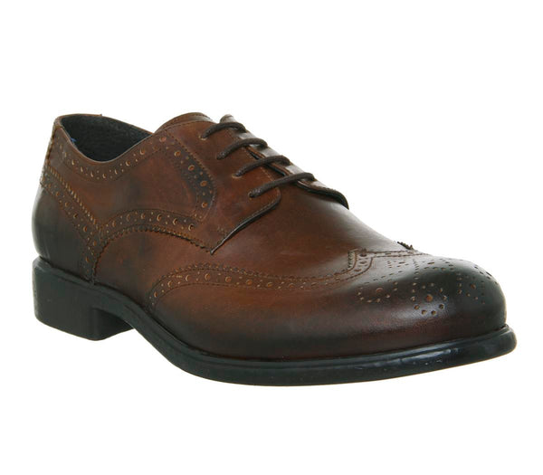 Mens Office Indent Brogue Dark Tan Leather Uk Size 8