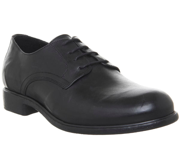 Mens Ask the Missus Indent Derby Shoes Black Leather
