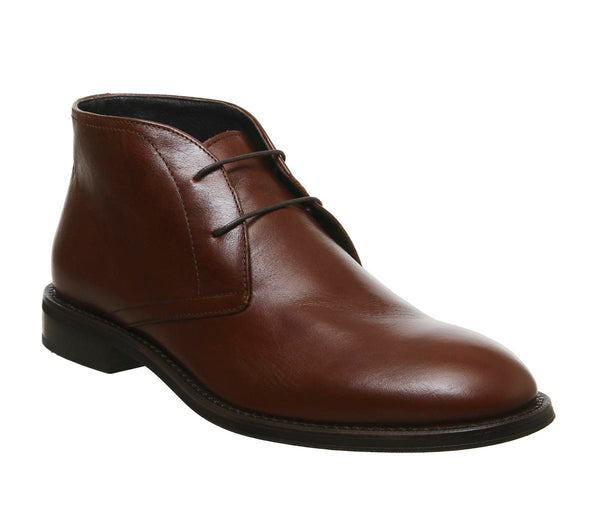 Mens Office Input Chukka Brown Leather