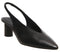 Womens Office Mischief Pointed Sling Back Black Leather Tortoise Heel