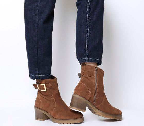 Womens Office Ark Casual Mid Buckle Boot Dark Tan Suede