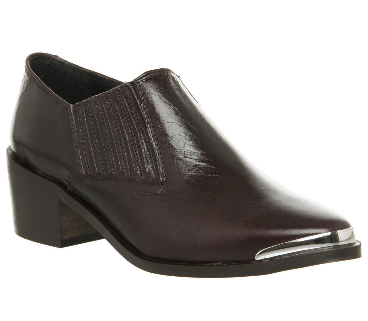 Womens Office Molloy Western Shoeboot Dark Choc Leather