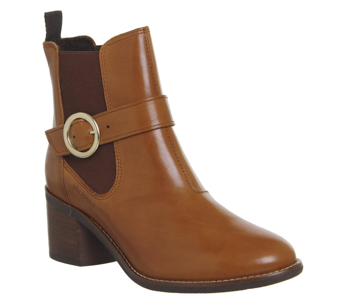 Womens Ten Points Josette Chelsea Buckle Cognac Leather