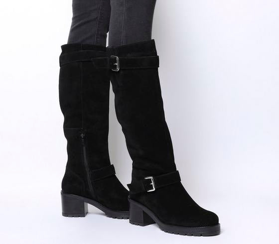 Womens Office Kadi Casual Mid Buckle Knee Boot Black Suede Uk Size 6