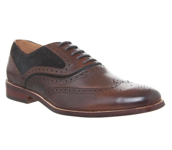 Mens Office Infuse Brogue Choc Choc Suede Leather