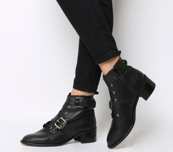 Womens Office Aspect Lace Up Casual Boot Black Leather Uk Size 6