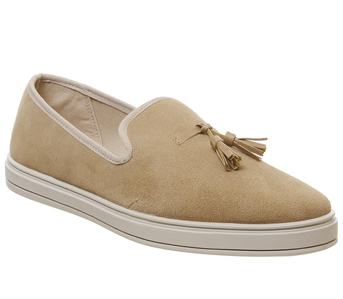 Mens Office Havana Slip On Tassel Loafer Beige Suede
